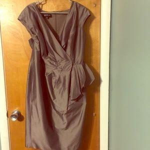 Jones New York taupe rouged midi sheath dress